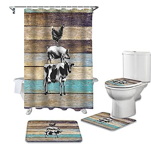 WWGBHJL 4-teiliges Duschvorhang-Set Holz Nutztier Rinder Schwein Huhn Duschvorhang-Set Badezimmer Duschwand rutschfeste Toilettenabdeckung Abdeckung Teppich Teppich Heimtextilien