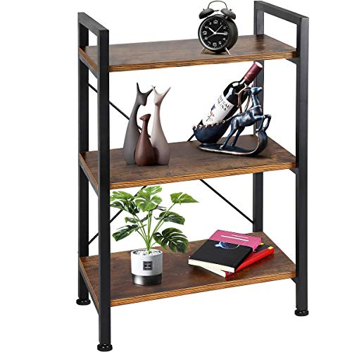 TomCare Bookshelf  3-Tier Wood and Metal Shelves Industrial Bookcase Display Office Storage Rack Multifunctional Furniture for Entryway Living Room Bedroom Home Office Kitchen