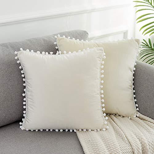 WLNUI Juego de 2 fundas de almohada de terciopelo suave blanco marfil de 45,7 x 45,7 cm, cuadradas, con pompones decorativos, fundas de cojín para sofá, sofá, hogar, decoración de granja