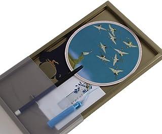 CETLFM Ventilador De Artesanía Antiguo Creativo, Superficie De Ventilador De Grúa Voladora De Seda, Ventilador De Sándalo Y Mango De Regalo.