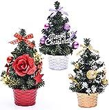 AOFOX Mini árbol de Navidad con Adornos, 3 Piezas Pequeño 20 cm de Alto Tablero de Mesa...
