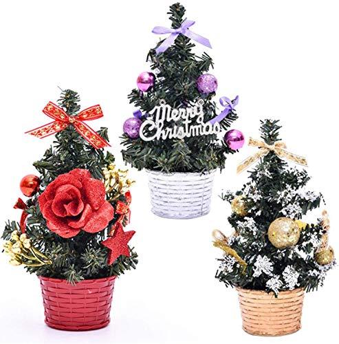 AOFOX Mini árbol de Navidad con Adornos, 3 Piezas Pequeño 20 cm de Alto Tablero de Mesa Pino de Navidad Artificial para Decoración Navideña Favor de Fiesta (Oro-Violeta-Rojo)