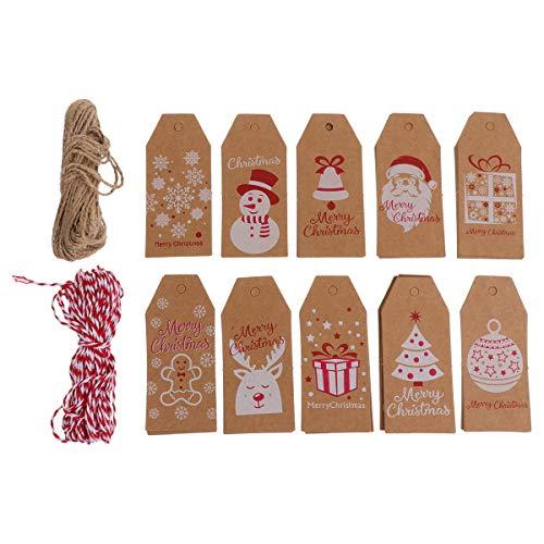 PRETYZOOM 100 Stück Weihnachten Retro Kraftpapier Hängende Tags mit 10m rotem Seil 10m Hanfseil