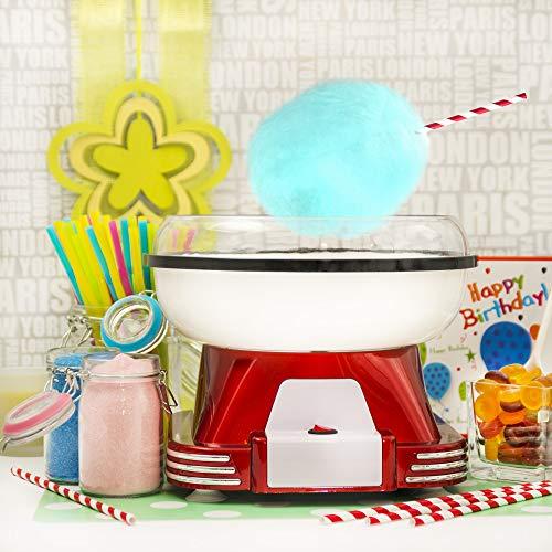 Gadgy  Maquina de Algodon de Azucar | Retro Cotton Candy Machine | Usar Azúcar Regular de Caramelo Duro Sin Azúcar | 500W Rojo
