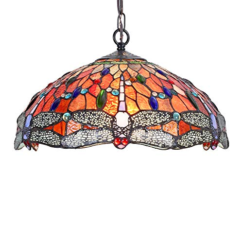 Capulina Tiffany Hanging Lamp Stained Glass Pendant Light Fixtures Kitchen Island Lighting Dragonfly Style 16x68' Deco for Dining Room Kitchen