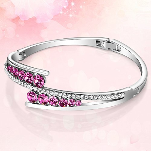 Menton Ezil Rose Lover White Gold Bangle Bracelet Made With Swarovski Pink Crystals Element Fashion Hinged Jewelry Mothers Day Gift Christmas Birthday Graduation Gifts for Her Mom Women Girls