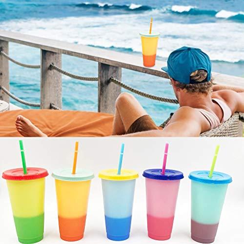 Gugavivid Kunststoff Farbwechsel Becher: 24oz - 5 Ice Kaffeetassen Wiederverwendbar Becher mit Deckel und Strohhalm - Summer Kalte Getränketasse für Erwachsene Kinder,5er-Set Stadionbecher