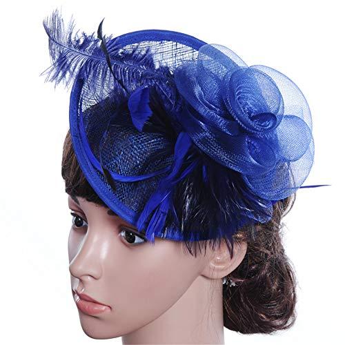 Sijux Chapeau Fascinators pour Les Femmes Tea Party Headband Fancy Dress Accessoires Mariage Cocktail Fleur Mesh Feathers Clip Cheveux,Blue