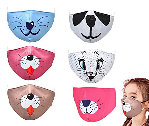 YUESUO Kids Face Cloth Mask Reusable Washable, Adjustable Anime Childrens Pink Black Gray Boys Smiley Funny Anime 3 Layer Girls Baby Big Kids Youth Cat Dog Animal 4 Ply with Filter Pocket