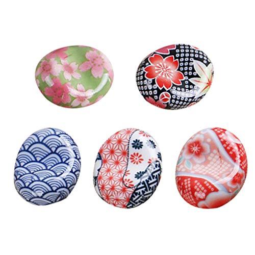 Angoily 5Pcs Stäbchen Halter Keramik Essstäbchenablage Löffel Gabel Halter Sakura japanische Stil Tischartikel Abendtisch Handwerke Ornamente Tischdekoration für Besteck-Zufallsmuster