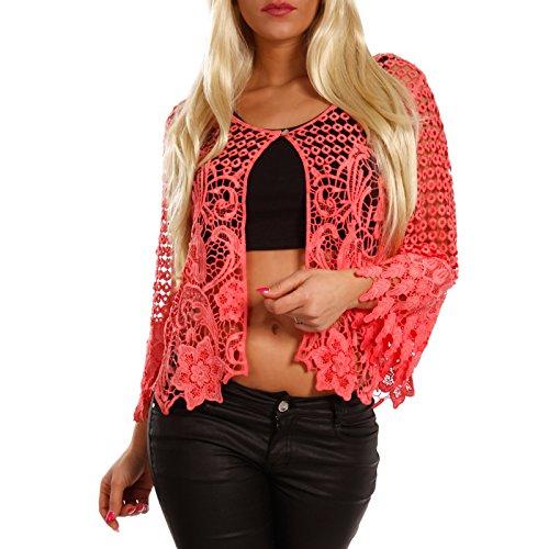 YC Fashion & Style Damen Cardigan Bolero Häkel-Look, Farbe:Lachsrot, Größe:One Size