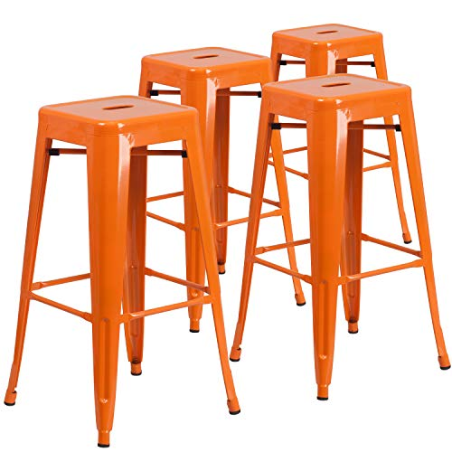 Flash Furniture 4 Pack Commercial Grade 30″ High Backless Orange Metal Indoor-Outdoor Barstool with Square Seat