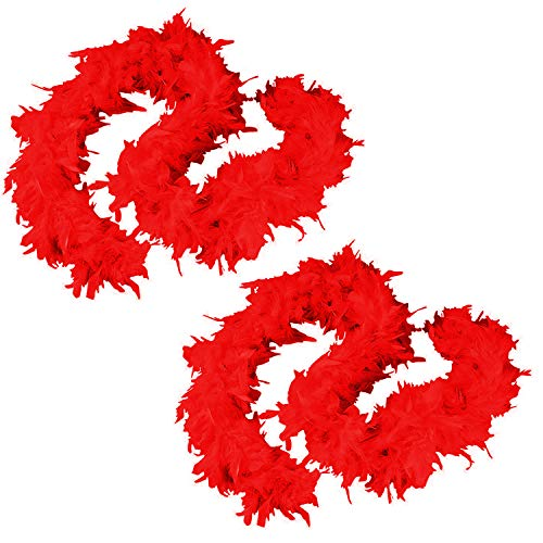 Tigerdoe Feather Boas - 2 Pack - Red Marabou Boas, Party Dressup Costume Accessories, 72 Inch Long (2 Pack Red Boas)