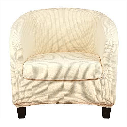 Lellen Fundas para silla de tina 2 piezas elásticas Jacquard para sofá individual para sala de estar extraíble y lavable, protector de sillón con funda de cojín (beige)