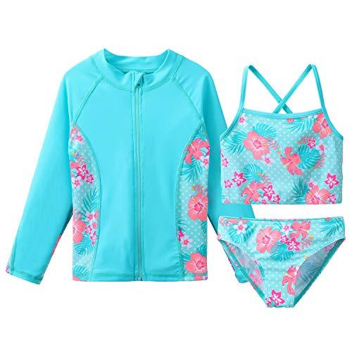 TFJH E Girls Swimsuits Long Sleeve Tankini Rashguard Sets Beachwear UV 50+ Cyan Flower 10A
