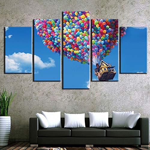 Flying House Up Futurama Película sobre Lienzo la Imagen HD 5 Piezas Arte de la Pared Posters Marco de la Sala de Estar Cuadros modulares Decoración para Sala de Estar,A,20x30x220x40x220x50x1