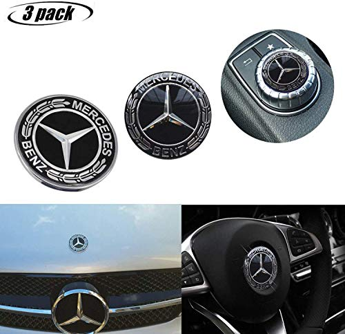 3-piece Mercedes Benz Logo Metal Flat Vehicle Hood Star Emblem Badge+ Steering Wheel Decal Sticker+Multimedia Control Decal Sticker for Mercedes Benz Class Decoration(Black Benz)