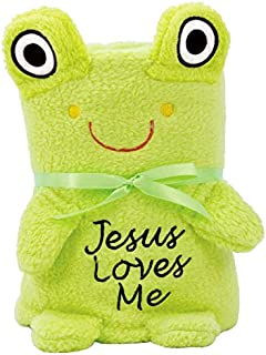 Brownlow Gifts Baby Blankie with Jesus Loves Me, Frog