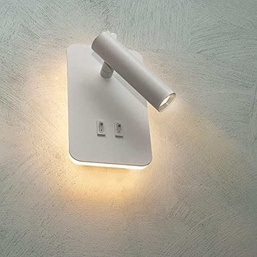 Applique a led per interno da parete a muro con doppio interruttore interruttore e doppia luce lampada 6w moderno (Bianco naturale)