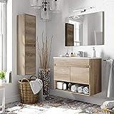 bagno italia mobile bagno cm 80 rovere venato con lavandino specchio colonna inclusa arredo moderno sospeso