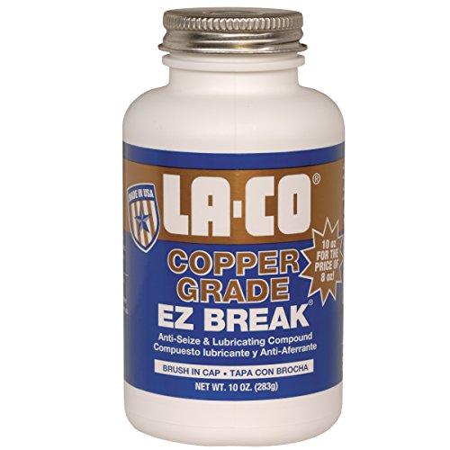 LA-CO EZ Break Copper Grade Antiseize Paste, 1800 Degree F Temperature, 10 oz Jar with Brush in Cap