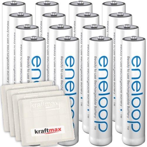 16er Pack Panasonic Eneloop AAA/Micro Akkus - Neueste Generation - Hochleistungs Akku Batterien in Kraftmax Akkuboxen V5