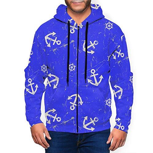 Anchor and Steering Wheel Mens Zip Up Hoodie Hipster Drawstring Hooded Sweatshirt Jacket Black