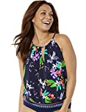 Swimsuits For All Women's Plus Size High Neck Blouson Tankini Top 20 Navy Wind Flower
