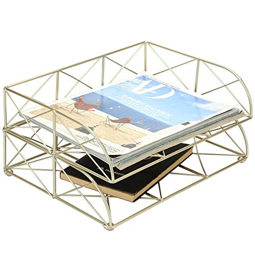 MyGift 2-Tier Geometric Light Gold-Tone Metal Desktop...