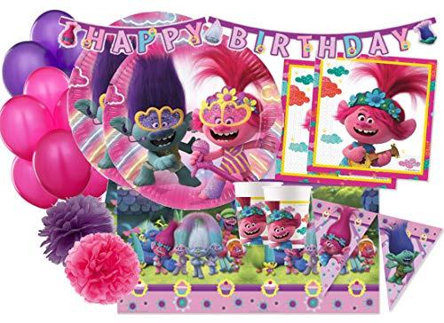 IRPot - Kit N 55 Coordinato TAVOLA Trolls Decorazione Festa Compleanno Poppy