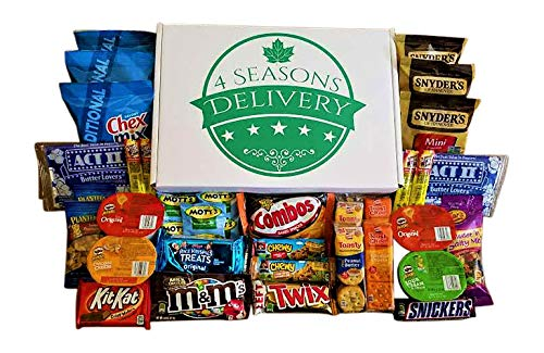 Sweet and Salty Snack Box, College Care Package, Movie Night Snacks, Military Care Package, Birthday and Holiday Gift, 4 SEASONS DELIVERY, 34 Count