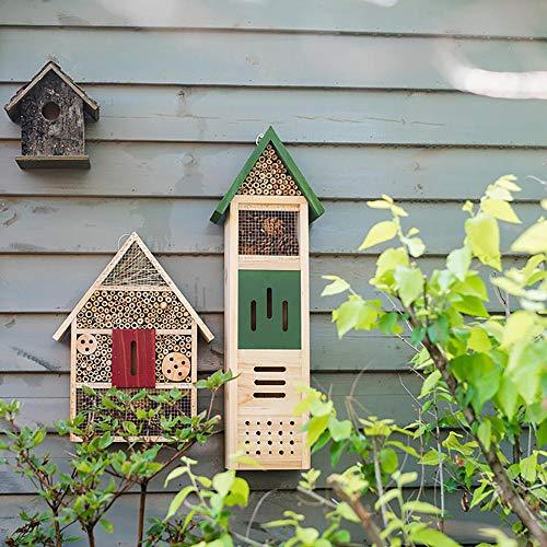 Bels Insektenhotel für den Garten, groß, aus Holz, freistehend, Grün, 64,5 x 21 x 12,5 cm