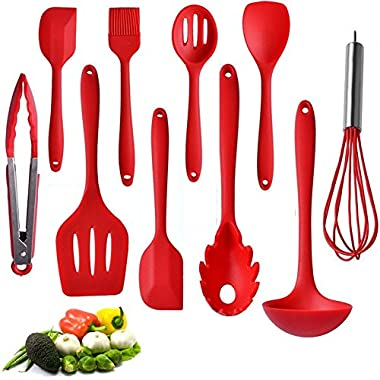 Kitchen Utensil Set - 10 Best Silicone Cooking Utensils With Natural Hard Wood Handle- Nonstick Silicone Spatula Set- Best Kitchen Utensils Tools for Gift