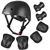 KAMUGO Kids Adjustable Helmet, with Sports Protective Gear Set Knee Elbow Wrist Pads for Toddler Age 3-8 Boys Girls, Bike Skateboard Hoverboard Scooter Rollerblading Helmet Set(Black)