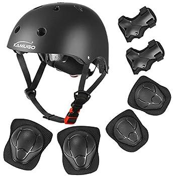 KAMUGO Kids Adjustable Helmet with Sports Protective Gear Set Knee Elbow Wrist Pads for Toddler Age 3-8 Boys Girls Bike Skateboard Hoverboard Scooter Rollerblading Helmet Set  Black