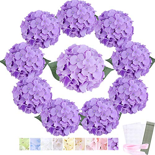 Trimgrace Purple Hydrangea Silk Flowers Heads 10 PCS with Stems and Leaves- Bulk Aritificial Hydrangeas Flowers DIY Kit for Home Rooms Party Wedding Centerpieces Flowers Backdrop(Light Purple)