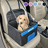 Henkelion Pet Dog Booster Seat, Deluxe Pet Booster Car Seat for Small Dogs Medium Dogs, Reinforce Metal Frame Construction, Portable Waterproof Collapsible Dog Car Carrier with Seat Belt - Black