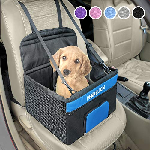 Henkelion Small Dog Car Seat, Dog Booster Seat for Car Front Seat, Pet Booster Car Seat for Small Dogs Medium Dogs Within 30 lbs, Reinforced Dog Car Booster Seat Harness with Seat Belt - Black