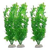 Liupin Store - 3 plantas artificiales de plástico verde de 10.6 pulgadas de altura para acuarios (color: verde)