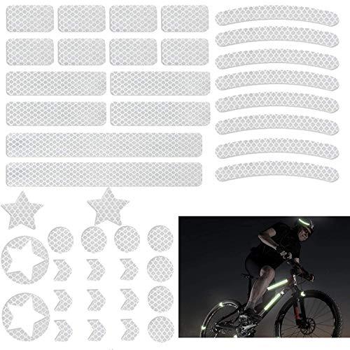BOYATONG Reflektoren Aufkleber Sticker (42 Stück),Reflektoren Fahrrad,Fahrradaufkleber Reflektorband für Helm Kinderwagen Kinderroller Fahrräder Skateboard Auto-selbstklebend und hochreflektierend