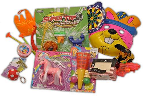 Schnäppchenladen24 Spielzeug Paket 10 Teile: Kinder Tiermaske / Pfeil & Bogen / Plüsch Krone / Ball Schießer / Fußball / Geld Anhänger / Schatzkiste / Bagger / Pferd / Wasserpistole