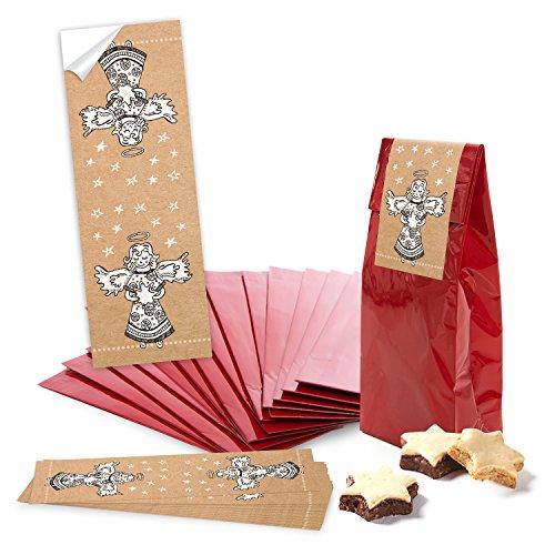 10 petits sacs en papier avec fond rouge pour biscuits, pâtisseries, pralines (7 x 4 x 20,5 cm) + 10 pièces banderolen Colle Sur pieux de Noël naturel noir blanc beige (5 x 14,8 cm) emballage