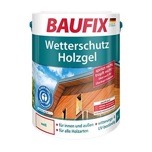 BAUFIX Wetterschut z-Holzgel Weiß, Holzlasur, Holzschutz für alle Holzarten, seidenglänzend, für innen & außen,