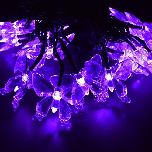 M.best Solar Lichterkette Aussen, 7M 50 LED Solarlichterkette für außen mit Schmetterling 8 Modi Wasserdicht Lichterkette außen Solar für Garten, Balkon, Terrasse, Hochzeiten, Partys (Lila)