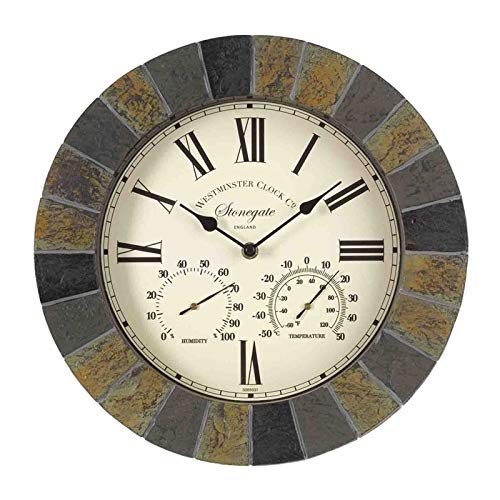 Große moderne Schiefer-Wanduhr, dekoratives Zaun-Ornament, Thermometer, Barometer, montierbar, wetterfest, Wetterstation, Thermometer