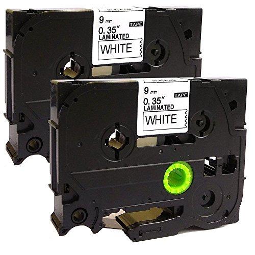 NEOUZA 2PK Compatibile per Brother P-Touch Laminated Tze Tz Label Tape Cartridge 9mm x 8m (TZe-221 Nero su Bianco)