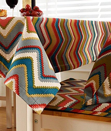 Tissu Coton Nappe Vintage Style Folk Épaissi Thé Table Tissu Rectangulaire,90*140Cm