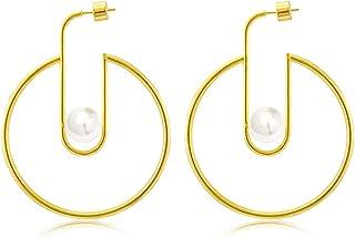 925 Sterling Silver Post 14k Gold Plated Open Cuff Hoop Earrings Natural Gemstone Pearl Hooped Stud Post Minimalist Earrings for Women Ladies Girls Gifts