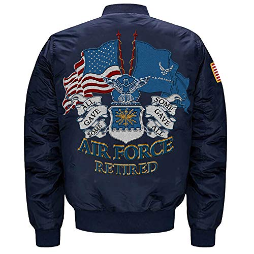 U.S. Air Force Retired MA-1 Flight Embroidered Bomber Jacket (Blue, XL)