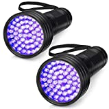2-Pack UV Flashlight Black Light, 51 LED 395 nm Blacklight Perfect Detector for Dog and Cat Urine, Dry Pet Stains, Bed Bug, Matching with Pet Odor Eliminator